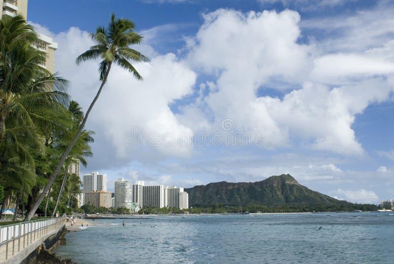 Waikiki y pista del diamante imagen de archivo