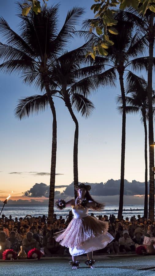 Waikikistrand, het Eiland van Honolulu, Oahu, Hawaï - September 27, 2017 stock afbeeldingen