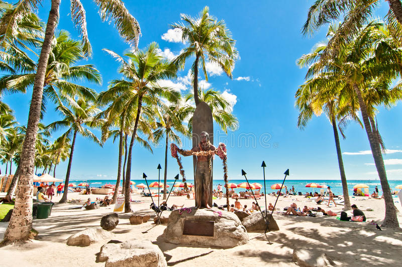 Waikikistrand in Honolulu, Hawaï stock afbeelding