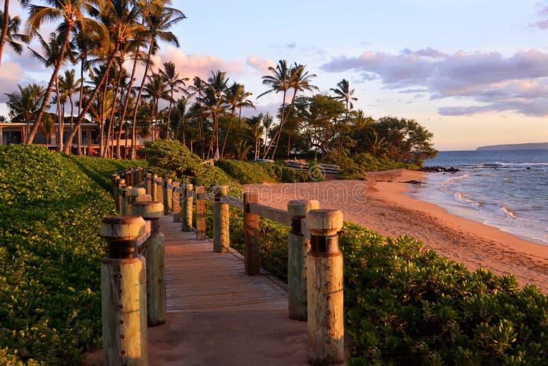 Wailea Beach Walkway, Maui Hawaii stock photos