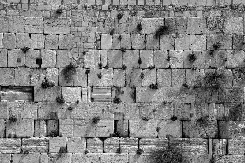 The wailing wall in black and white stock image