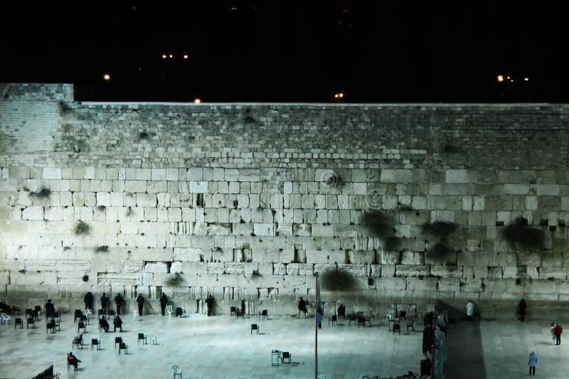 The Wailing Wall in Jerusalem at Night royalty free stock photos