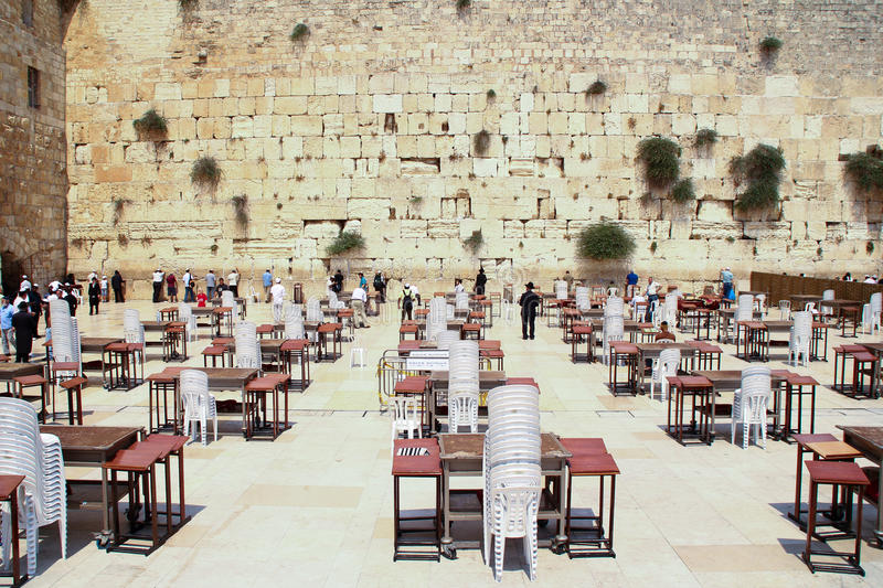 The wailing wall ready for the celebration stock photography