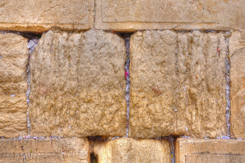Wailing Wall Slip Notes, Jerusalem Israel. Slips of paper containing written prayers in the crevices of the Wailing Wall, Jerusalem Israel stock photography