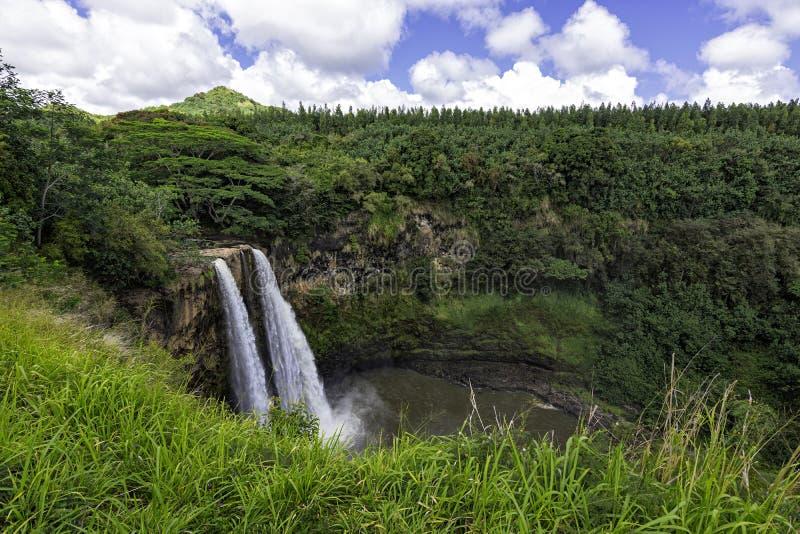 Wailua cascate gemelle, Kauai, Hawaii, Stati Uniti fotografie stock