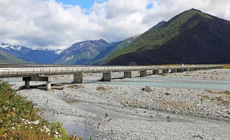 Waimakariri河桥梁 免版税库存图片
