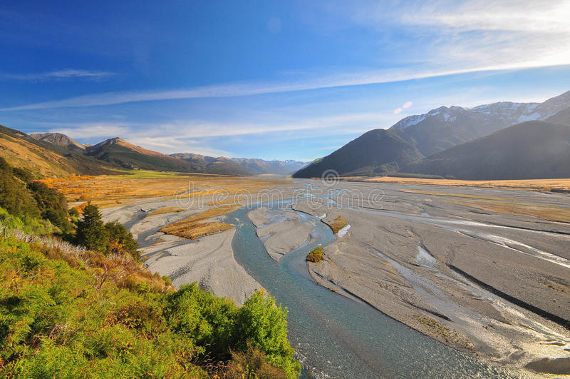 Waimakariri河,新西兰风景 免版税库存图片