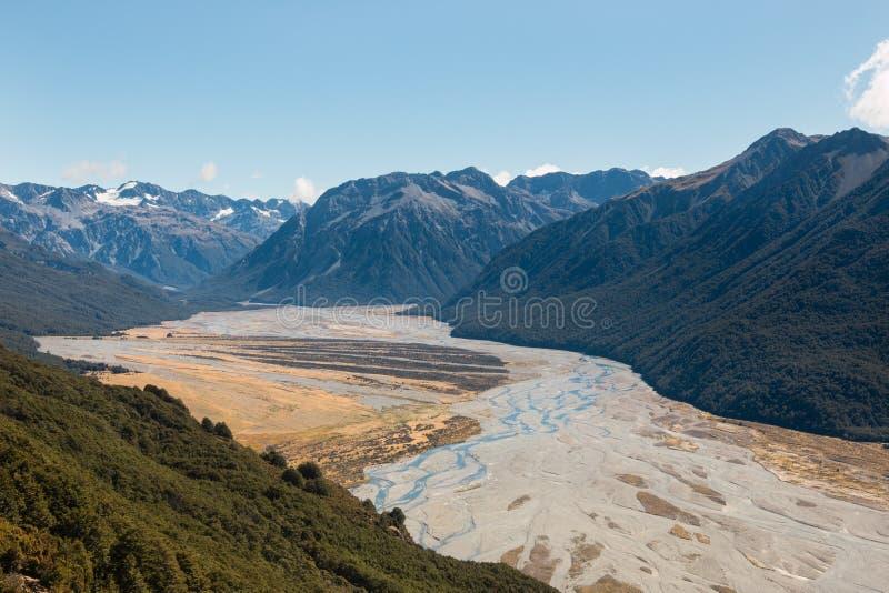 Waimakariri河洪泛区  免版税库存照片