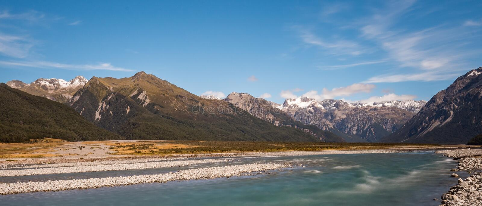 Waimakariri River flowing from the Mountains of Arthur`s Pass, New Zealand royalty free stock photography