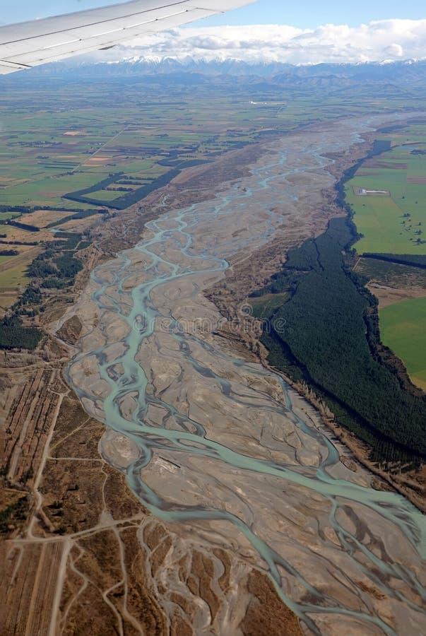 Waimakariri rzeka Południowa wyspa Nowa Zelandia od samolotu zdjęcie stock