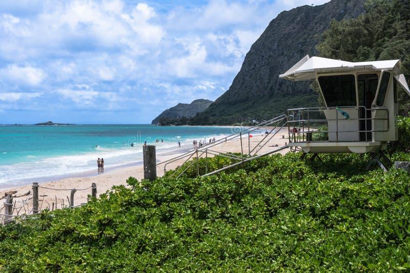 Waimanalo海滩在奥阿胡岛,夏威夷 库存图片