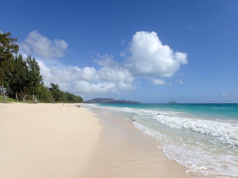 Waimanalo Beach at looking towards mokulua islands stock photography