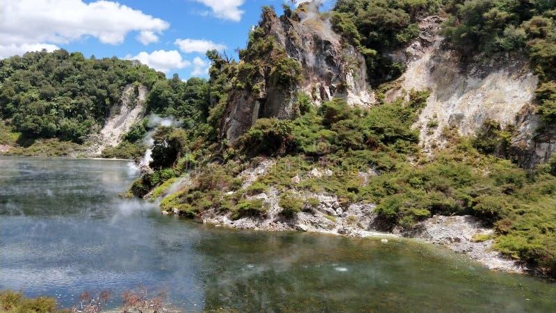 Geothermal lake at Waimangu volcanic valley royalty free stock images