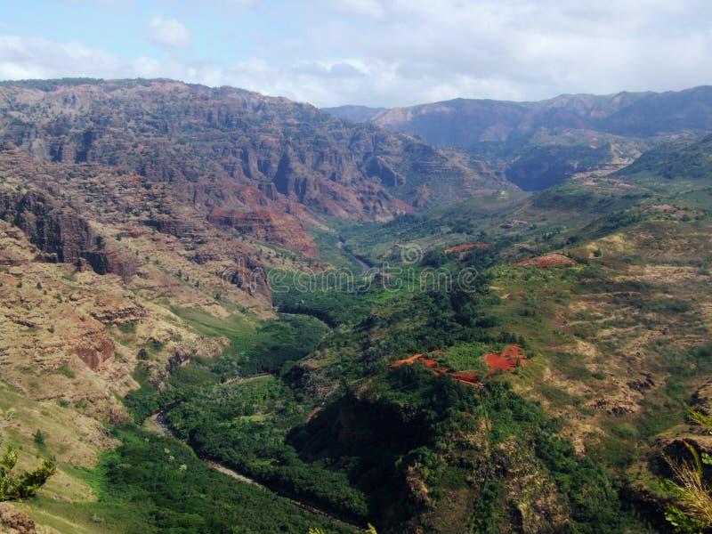 Waimea峡谷的,考艾岛,夏威夷河谷 库存图片