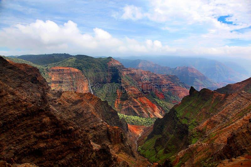 Waimea峡谷考艾岛夏威夷惊人的看法  免版税库存图片