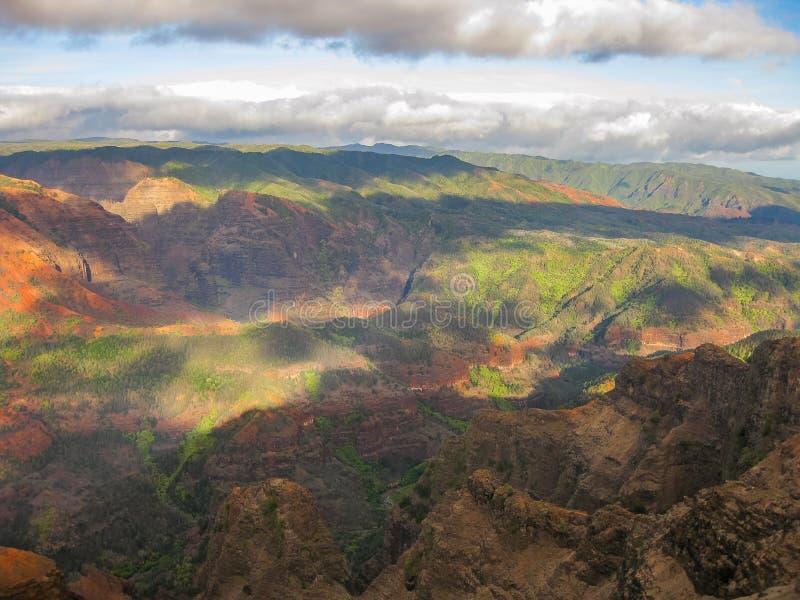 waimea峡谷,夏威夷的颜色在日落的 免版税图库摄影