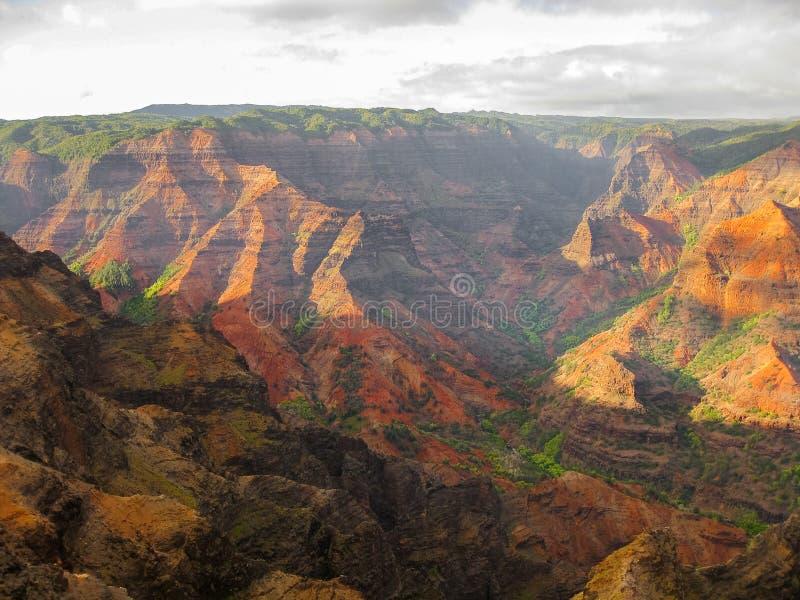 waimea峡谷,夏威夷的颜色在日落的 图库摄影