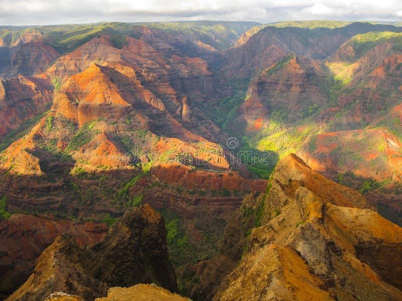 waimea峡谷,夏威夷的颜色在日落的 库存照片