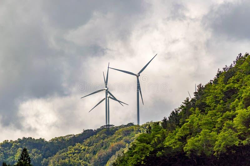Waimea Bay. Located on the North Shore of Oahu, Hawaii. These are the wind turbines overlooking Waimea Bay stock image