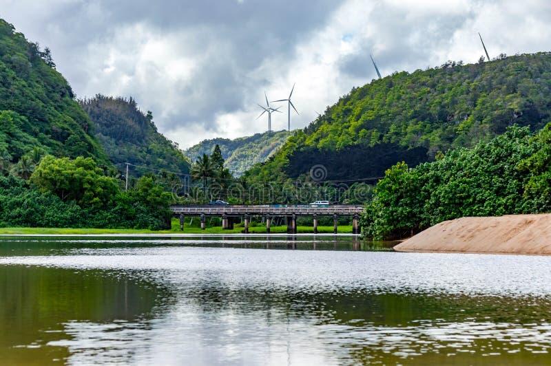 Waimea Bay. Located on the North Shore of Oahu, Hawaii. These are the wind turbines overlooking Waimea Bay stock images