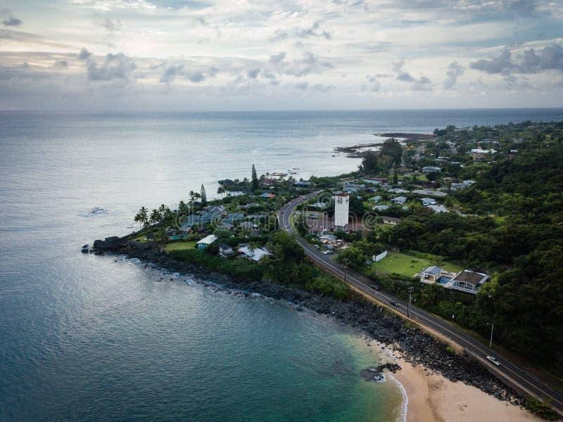 Waimea Bay Point Landscape and Ocean. Aerial, moody, dusk landscape of Waimea Bay point on Oahu, Hawaii, north shore stock photos