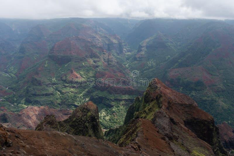 Waimea kanjon på Kauai, Hawaii, i vinter efter ett viktigt häftigt regn arkivbild