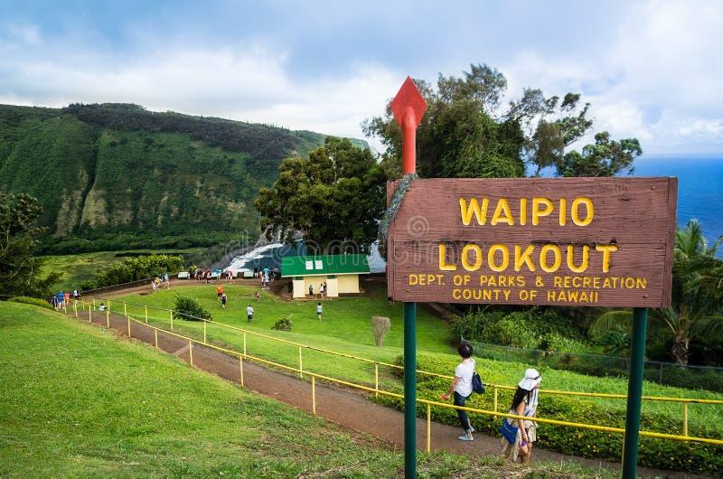 Waipio在大岛夏威夷的谷视图 免版税图库摄影