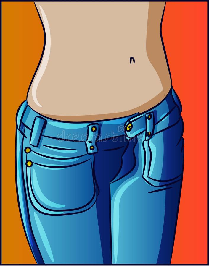 Waist and belly button of a woman female fashion slim fitness body illustration. Diet health drawing in blue jeans and denim pocke royalty free illustration
