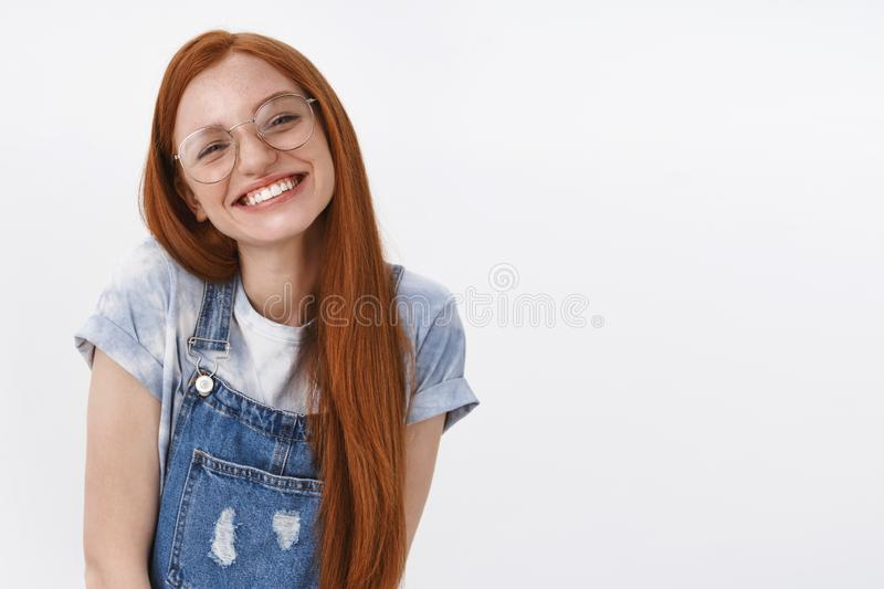 Waist-up cheerful tender caucasian lovely redhead teenage girl, tilt head coquettish and flirty grin, look with stock images