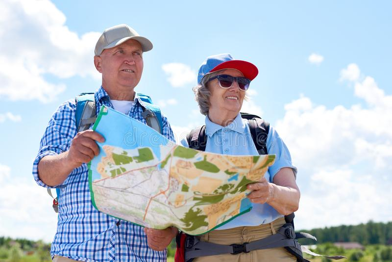 Senior Couple on Hiking Trip stock images