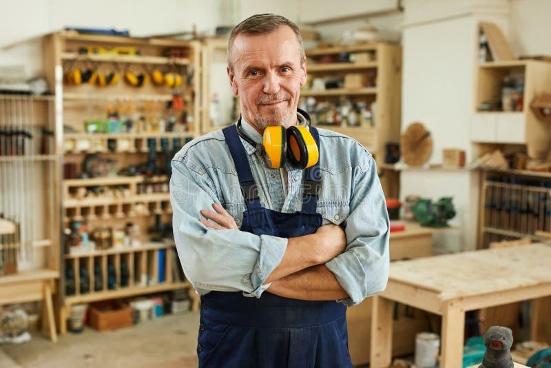 Senior Carpenter Posing stock photography