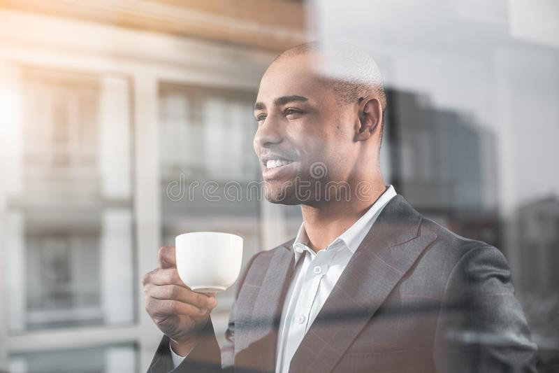 Pleased african businessman near window royalty free stock photos