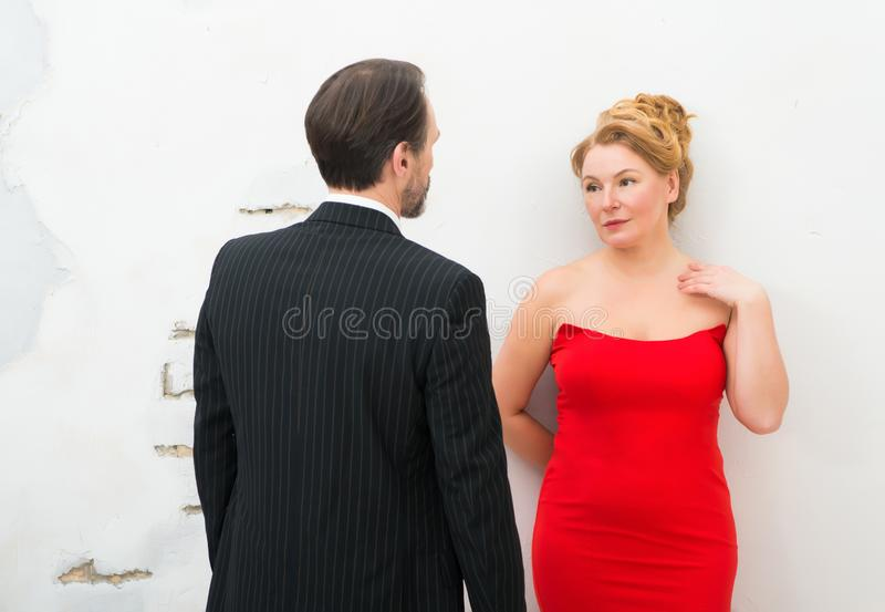 Glamour woman expressing sensuality while looking at her lover royalty free stock photography