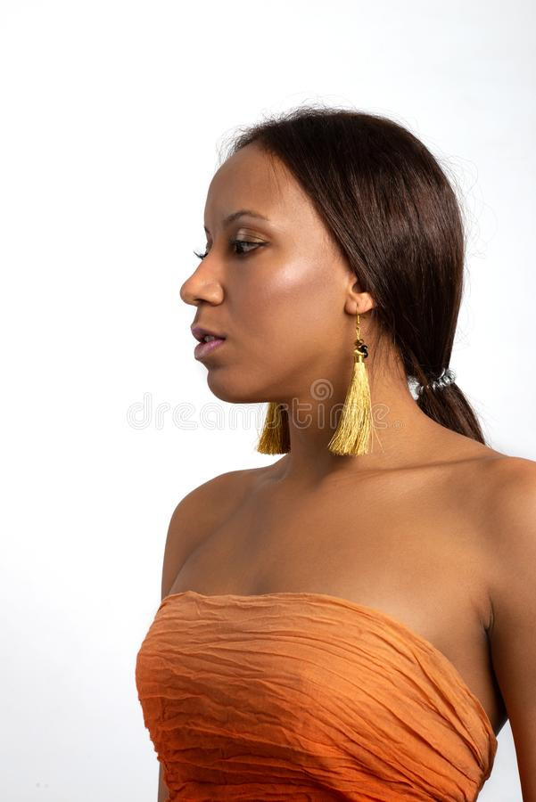 Waist up studio shot of the young woman of the mulatta with make up wearing terracotta dress and golden earrings, isolated royalty free stock photos