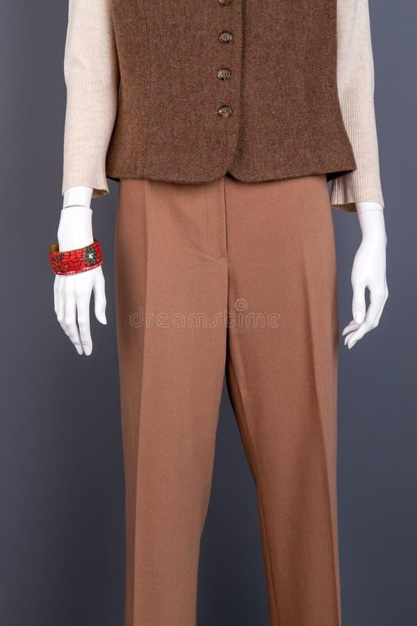 Waistcoat och byxa för kvinnlig brun royaltyfria foton