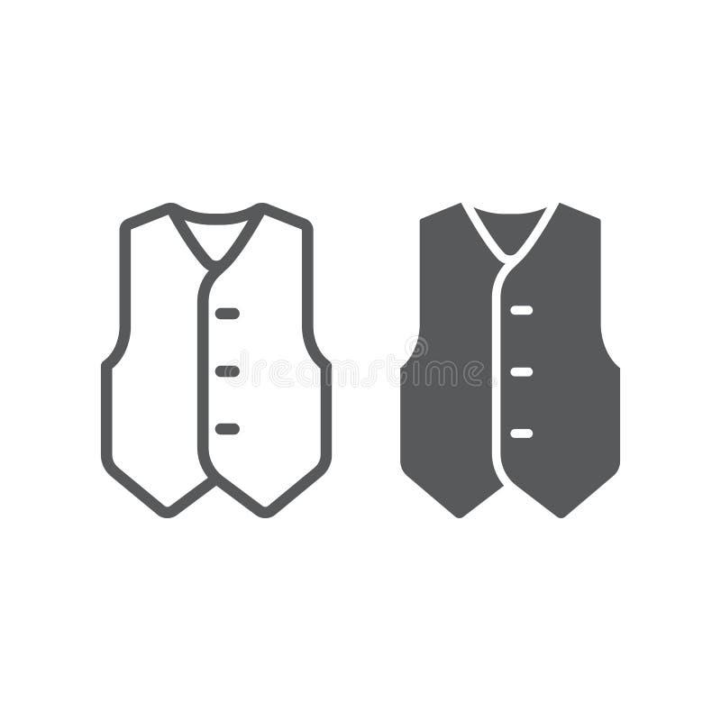 Waistcoatlinje och skårasymbol, kläder och dräkt, formellt västtecken, vektordiagram, en linjär modell på ett vitt vektor illustrationer