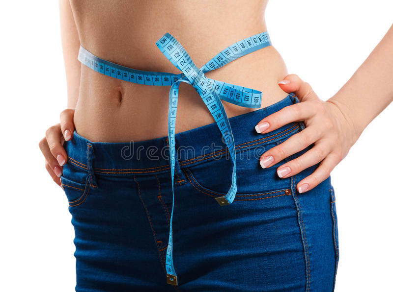 Waistline and measure tape. On white background royalty free stock image