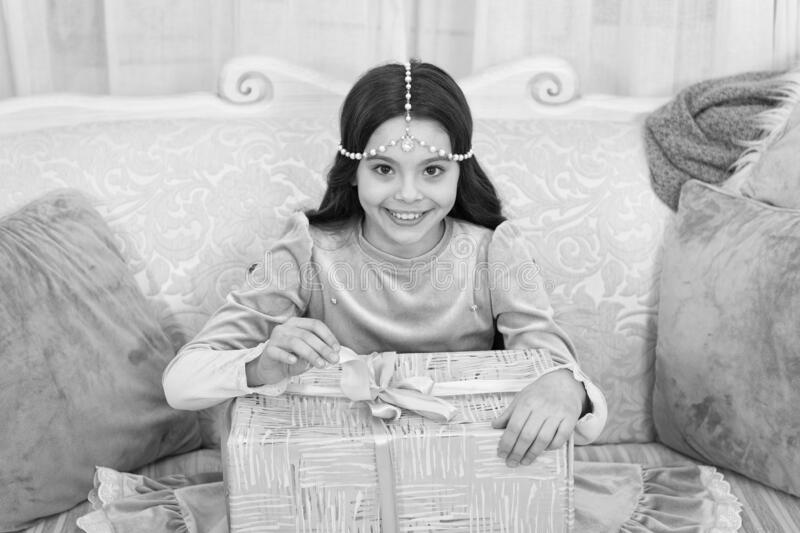 Wait for santa claus. Christmas time. Happy child with present box. Happy new year. Celebrate. Tenderness concept. Happy. Kid opening surprise gift. Shopping stock photos