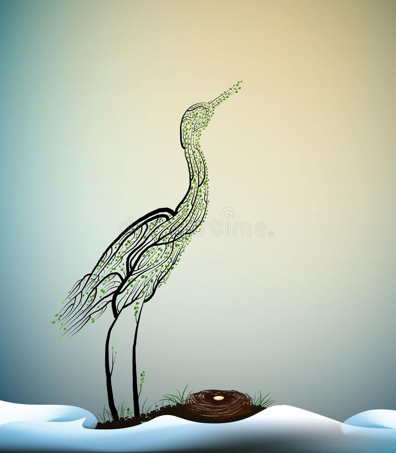 Wait the spring, crane bird look like tree branches with the nest and look at the fist ray of the sun, spring beautiful stock illustration