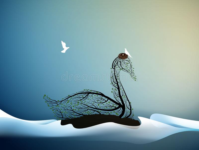 Wait the spring, swanlook like tree branches with the nest and white bird flying, spring is coming, spring beautiful vector illustration