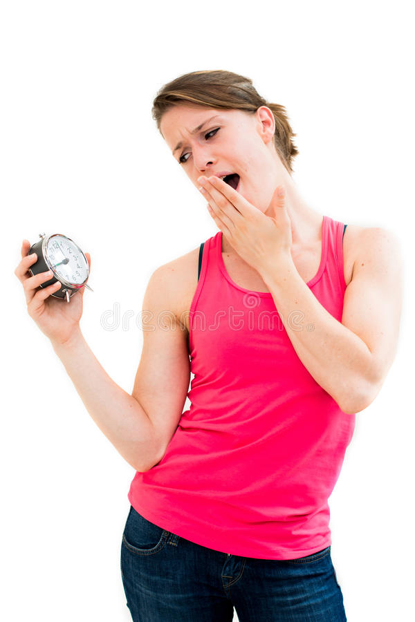 Download Wait,young Beautiful Woman Holding A Clock Stock Image - Image of office, lifestyle: 25867631