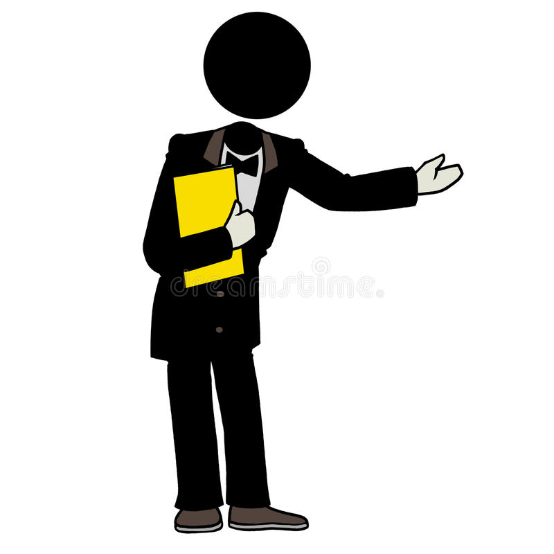 Waiter. Silhouette-man waiter holding a yellow menu royalty free illustration