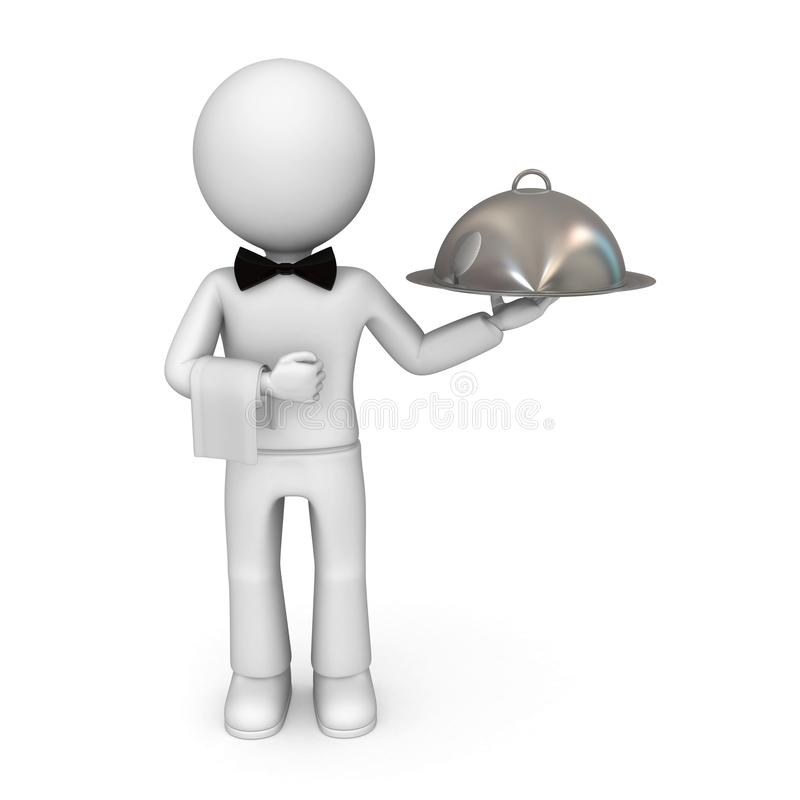 Waiter. At your service. Isolated on white background vector illustration