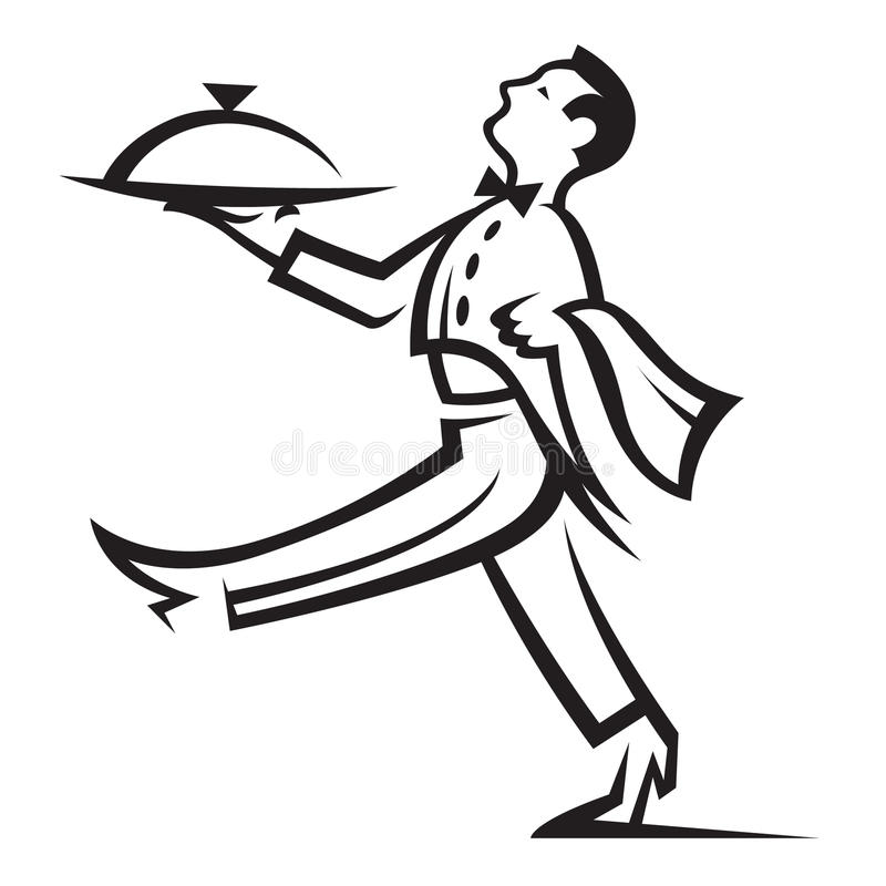 Waiter. With tray of food in hand vector illustration