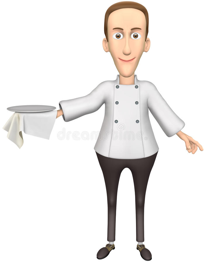 Waiter. Just add your product on waiter tray. Cartoon smile waiter with isolation on a white background stock illustration