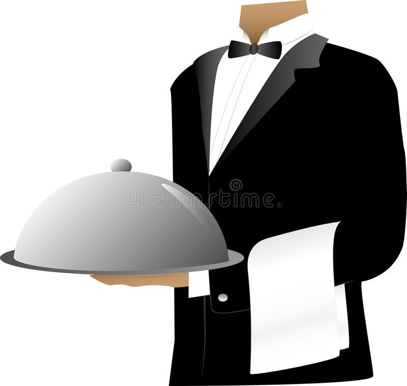 Waiter. Torso holding a silver tray with catering dome royalty free illustration
