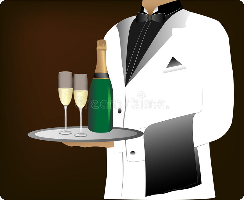 Download Waiter stock vector. Illustration of person, meal, city - 25591048