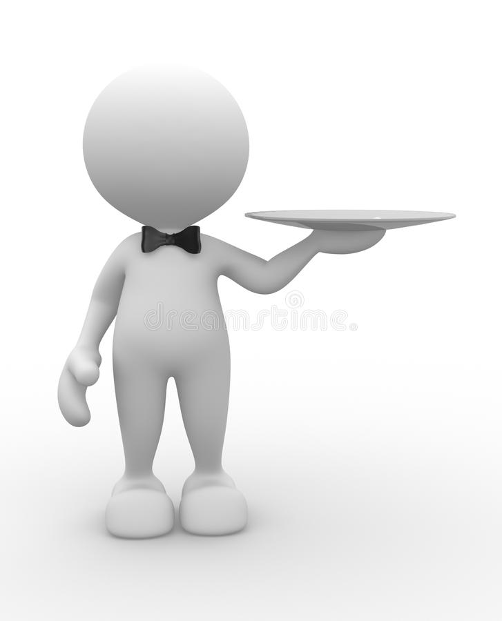 Waiter. 3d people - man, person with a plate. Waiter with tray vector illustration