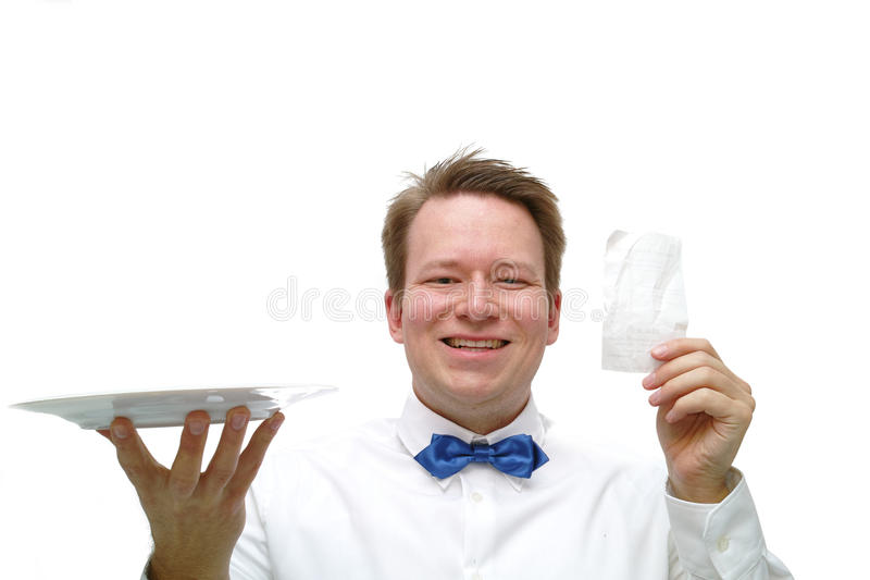 Waiter. Young happy waiter presenting the bill stock photos