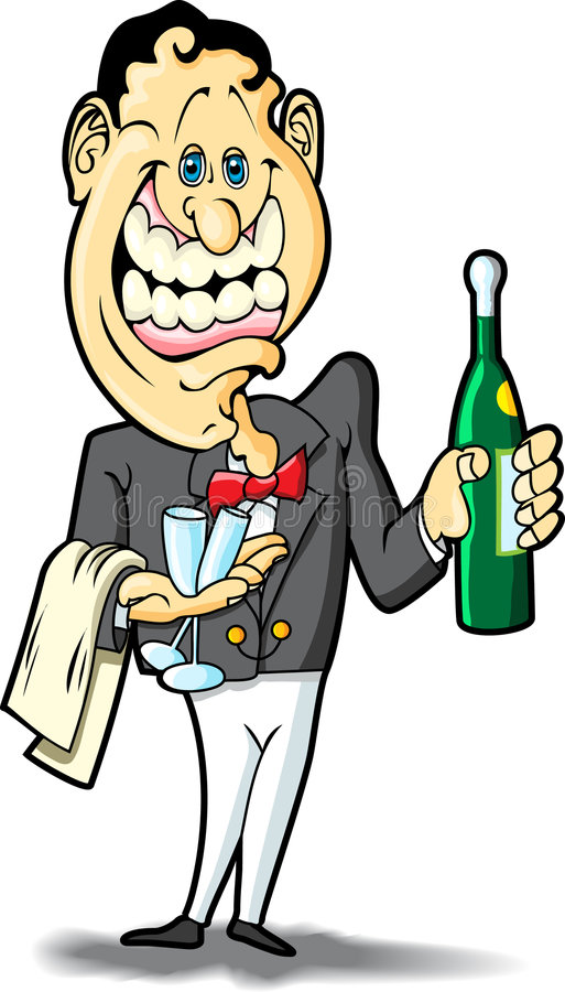 Waiter. This is a waiter ready to serve an alcoholic beverage royalty free illustration